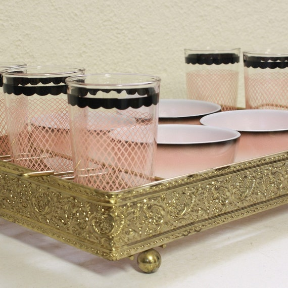 vintage gold serving tray - 6 pink glasses - 4 pink dishes bowls - dessert tray - drink and snack tray