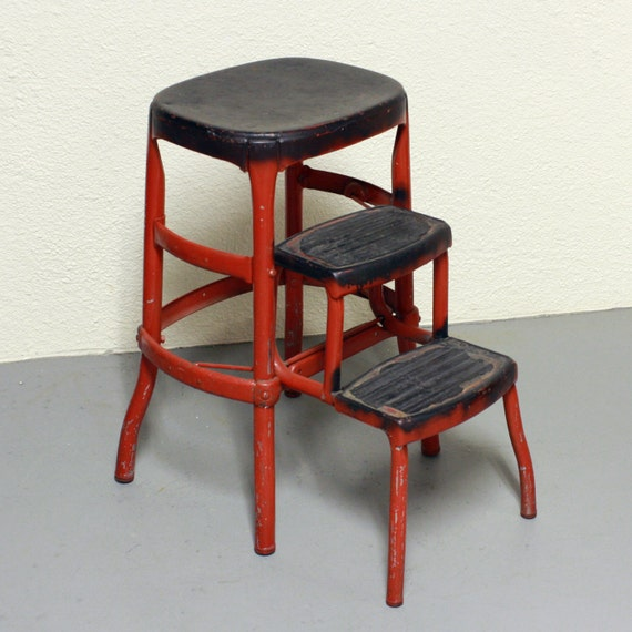 Vintage step stool chair - Vintage Stool Step Stool Kitchen Stool Cosco Chair Pull Out