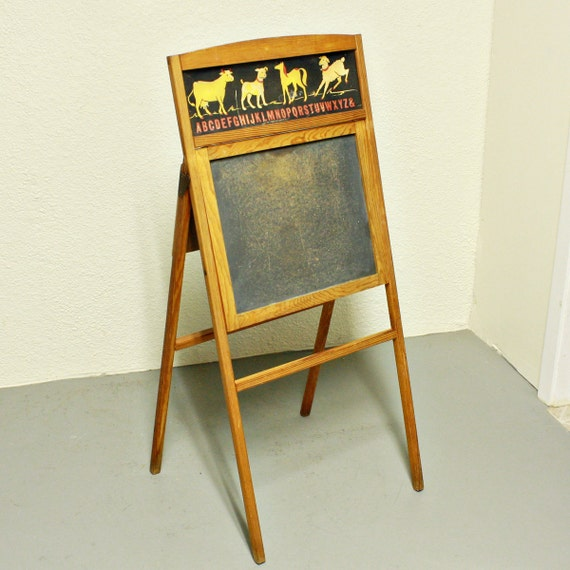 Vintage chalkboard - standing - easel - ABC - animals - fold out - Transocram