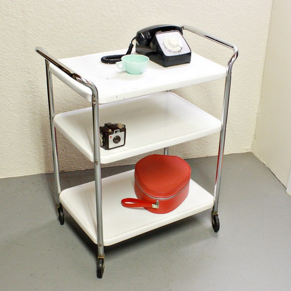 Vintage Metal Cart Serving Cart Kitchen Cart By Oldcottonwood