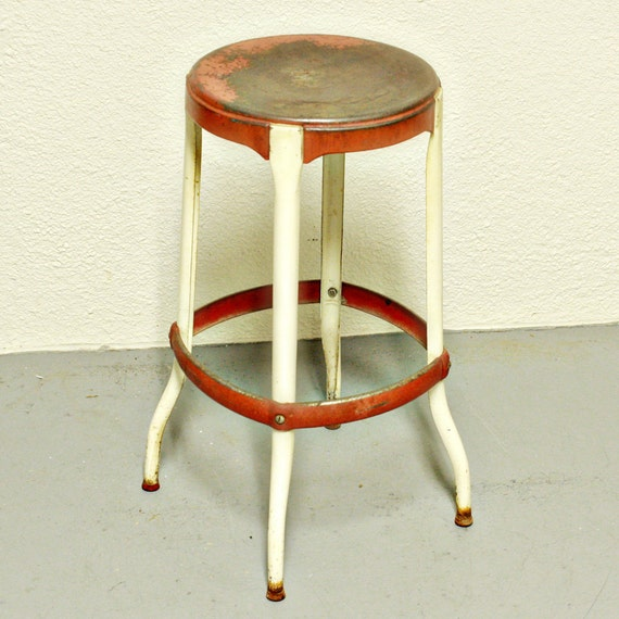 Vintage stool kitchen stool chair red and cream metal