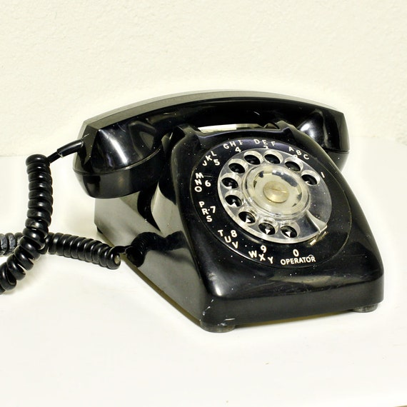 Vintage telephone - rotary - black - dial - Automatic Electric - desk phone