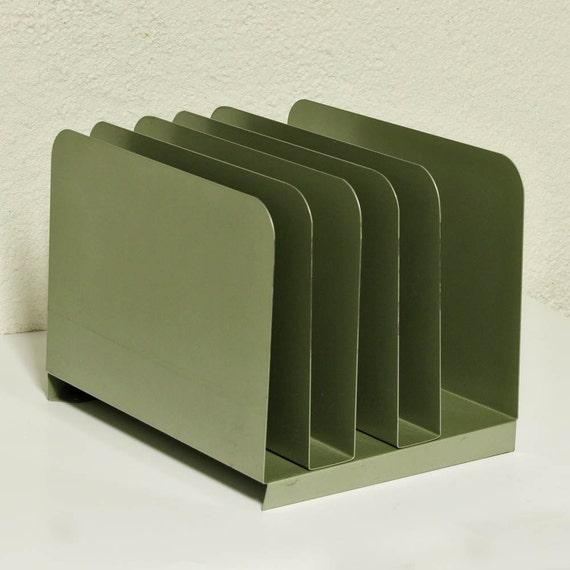 vintage letter holder - file holder - file shelf - metal - light mint green