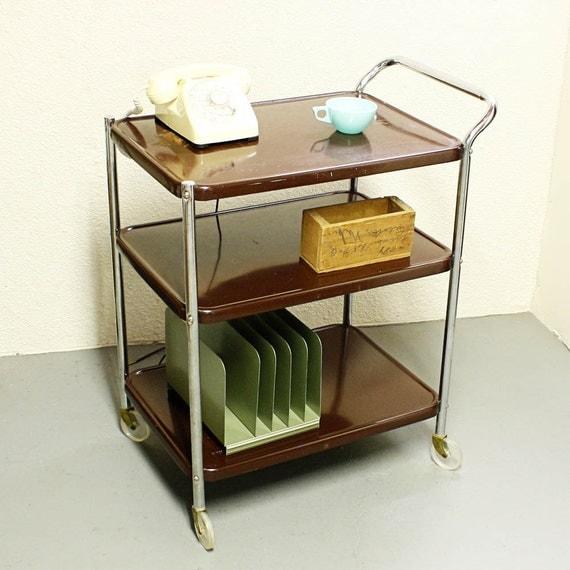 Vintage metal cart - serving cart - kitchen cart - brown - wheels - 3 ...
