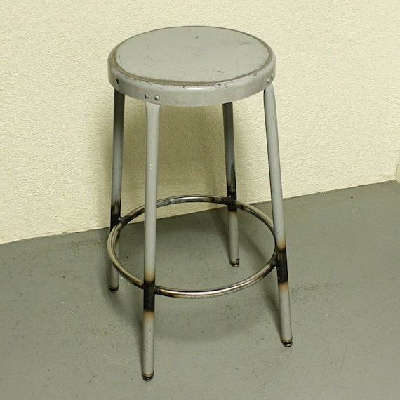 Vintage metal stool - shop stool - seat - industrial - gray - metal