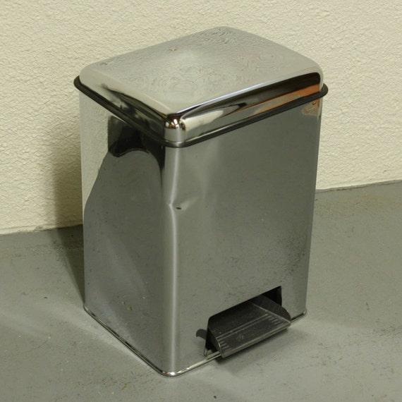 Vintage trash can - waste basket - metal - Lincoln BeautyWare - step-on - foot pedestal - chrome