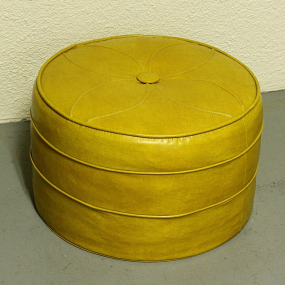 Vintage foot stool - hassock - ottoman - footrest - round - dark yellow - cushioned