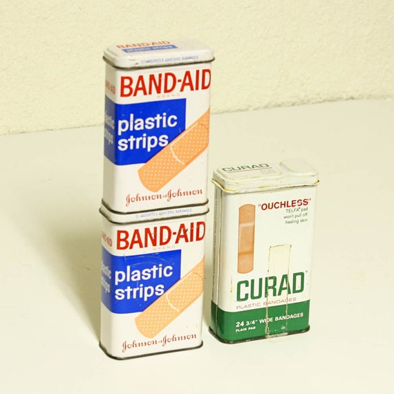 vintage tins - 3 - band-aid - curad metal containers with lids