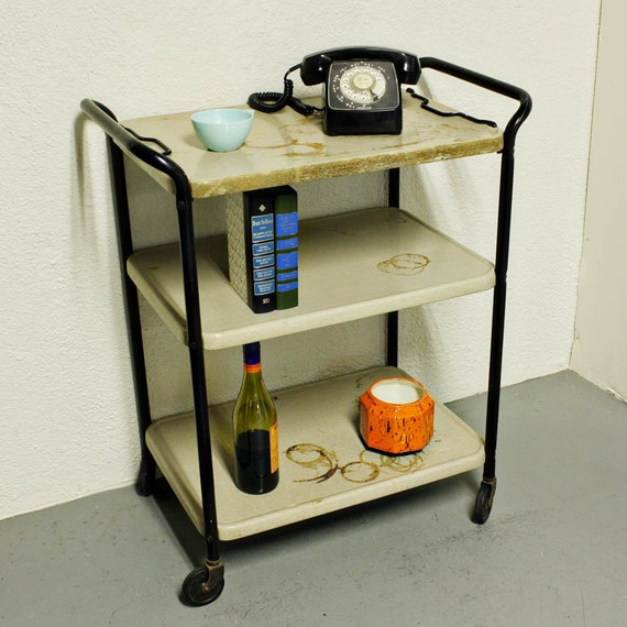 Cosco Chippy Red Metal Kitchen Cart Movable Painted Vintage: Vintage Metal Cart Serving Cart Kitchen Cart Cosco