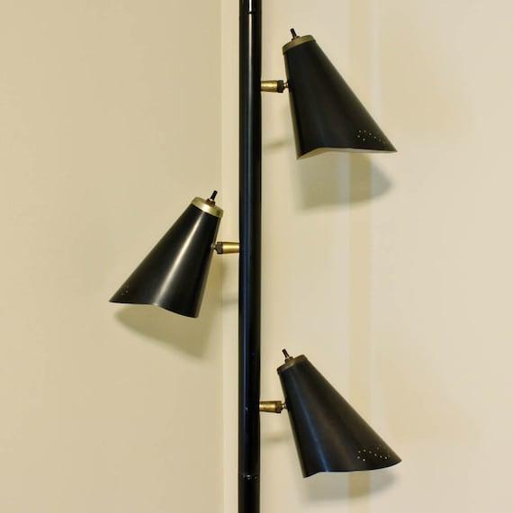 Vintage Lamp Pole Lamp Tension Pole Lamp Black Mid