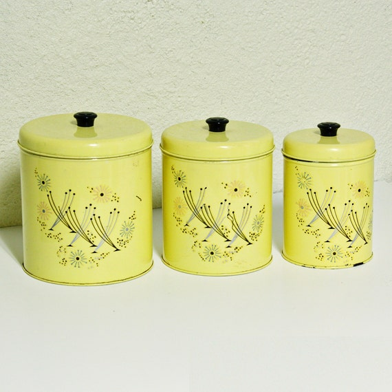 vintage canister set tins yellow retro flowers flour coffee