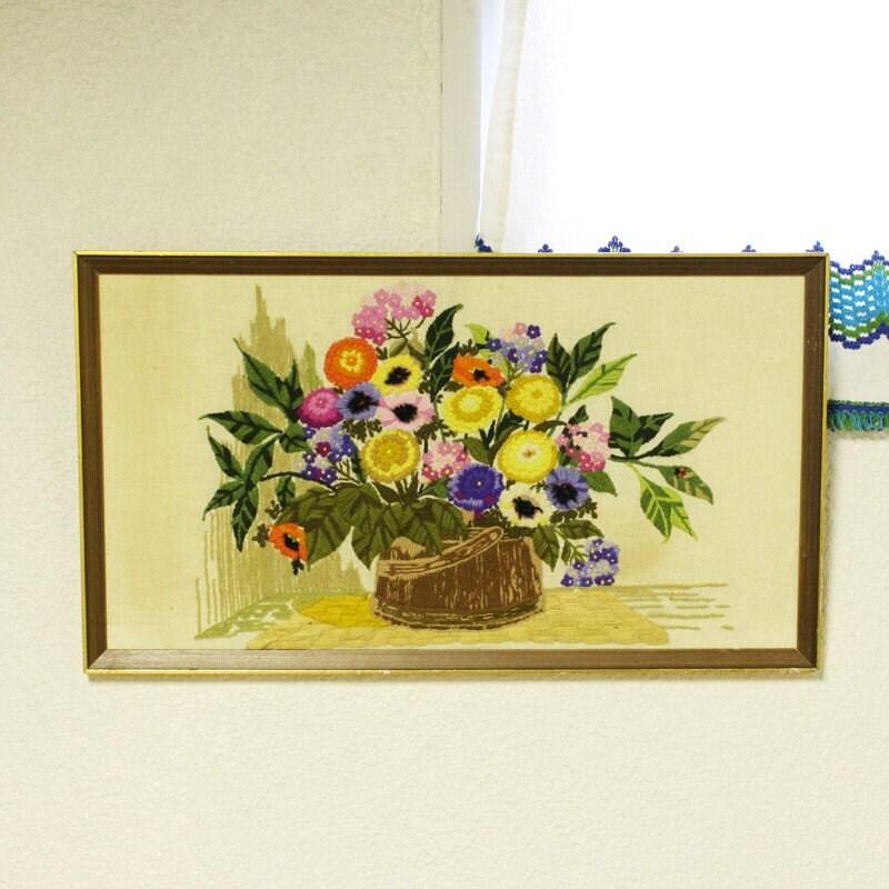 Vintage yarn art string art wall decor wild flowers for Yarn wall art