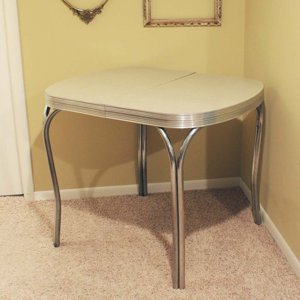 Vintage kitchen dinette table formica top gray cracked ice for Dinette tables