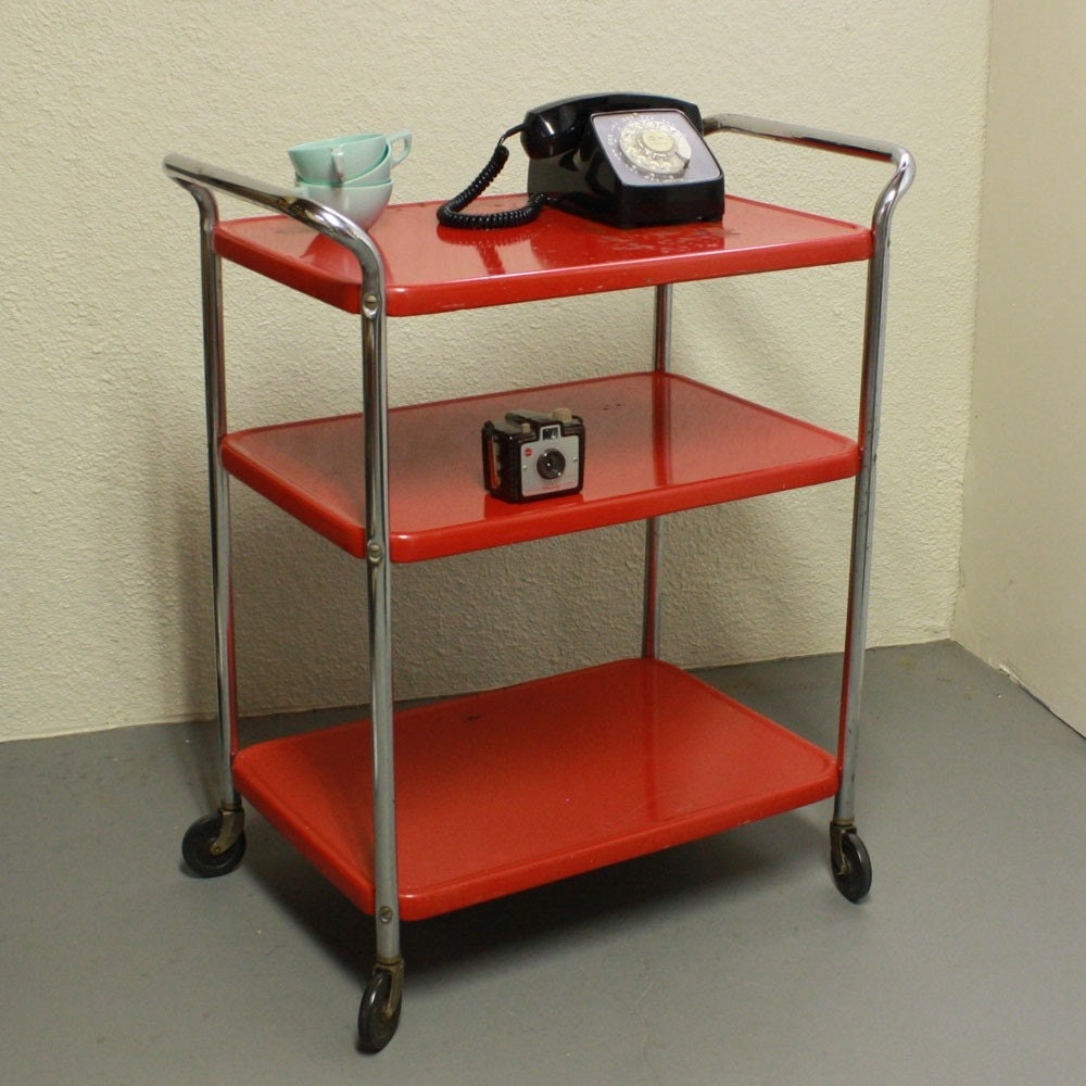 Vintage Metal Cart Serving Cart Kitchen Cart Cosco Red