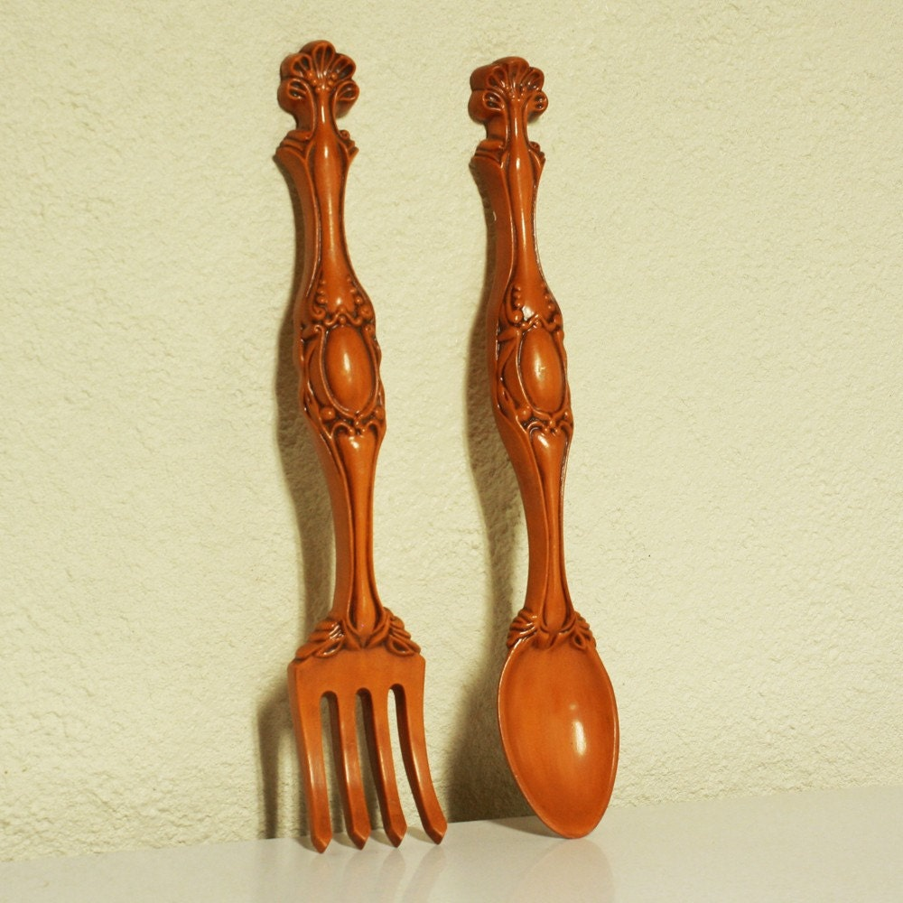 Vintage Wall Decor Fork And Spoon Pottery Set