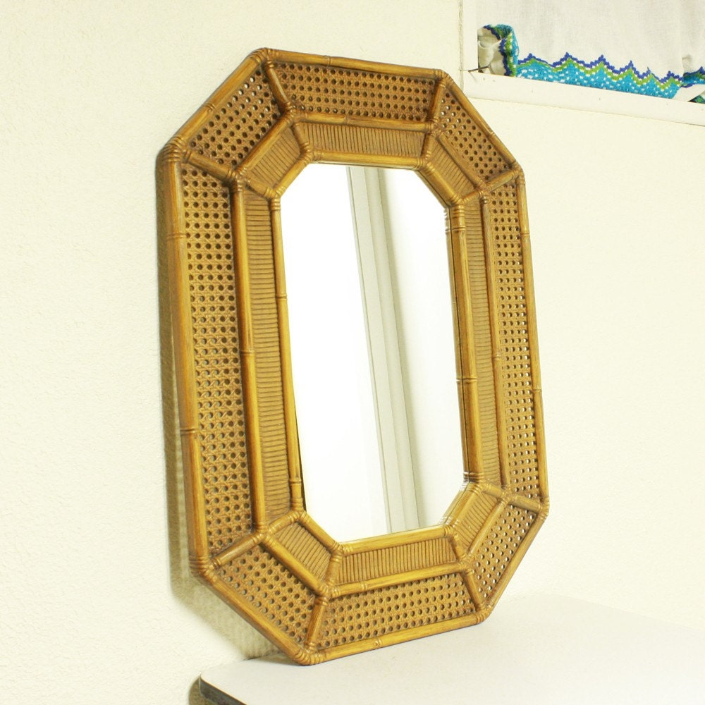 Vintage Mirror Wall Mirror Faux Bamboo Faux Cane Brown