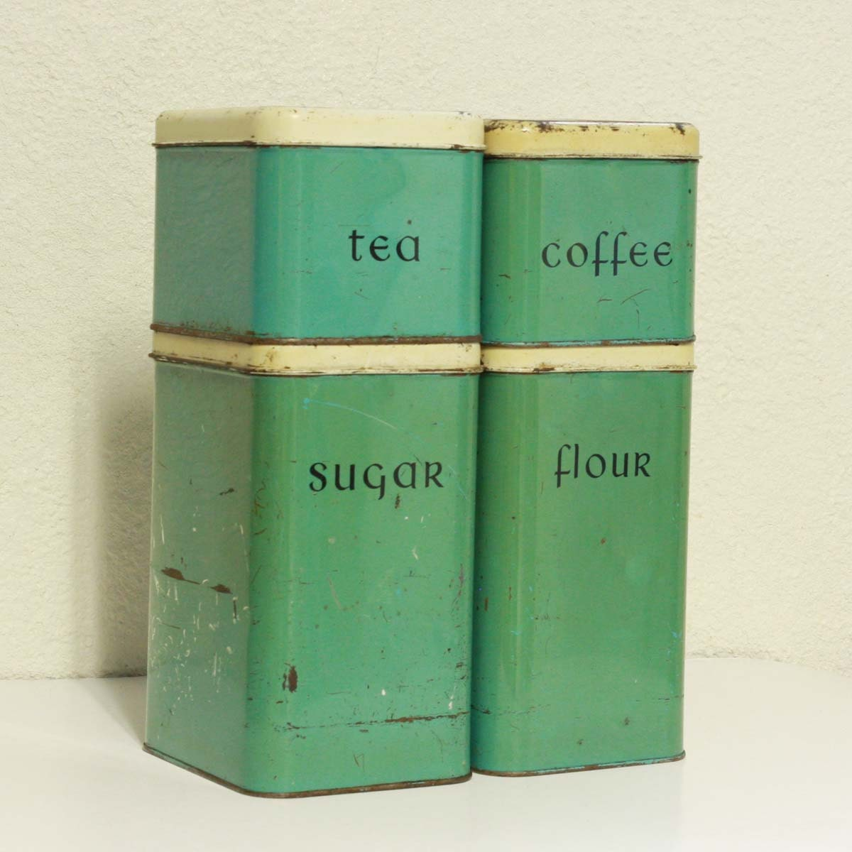 vintage canisters tins metal green teal set by oldcottonwood