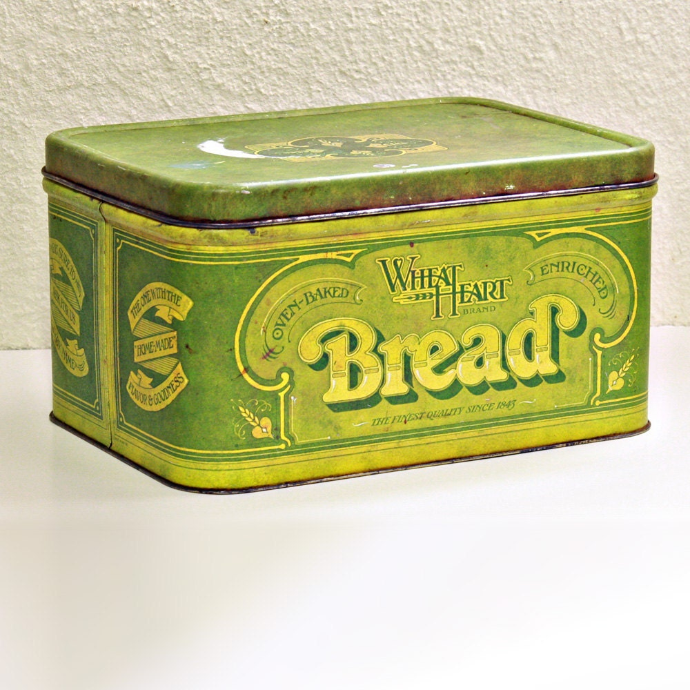 vintage bread box bread tin wheatheart green metal. Black Bedroom Furniture Sets. Home Design Ideas