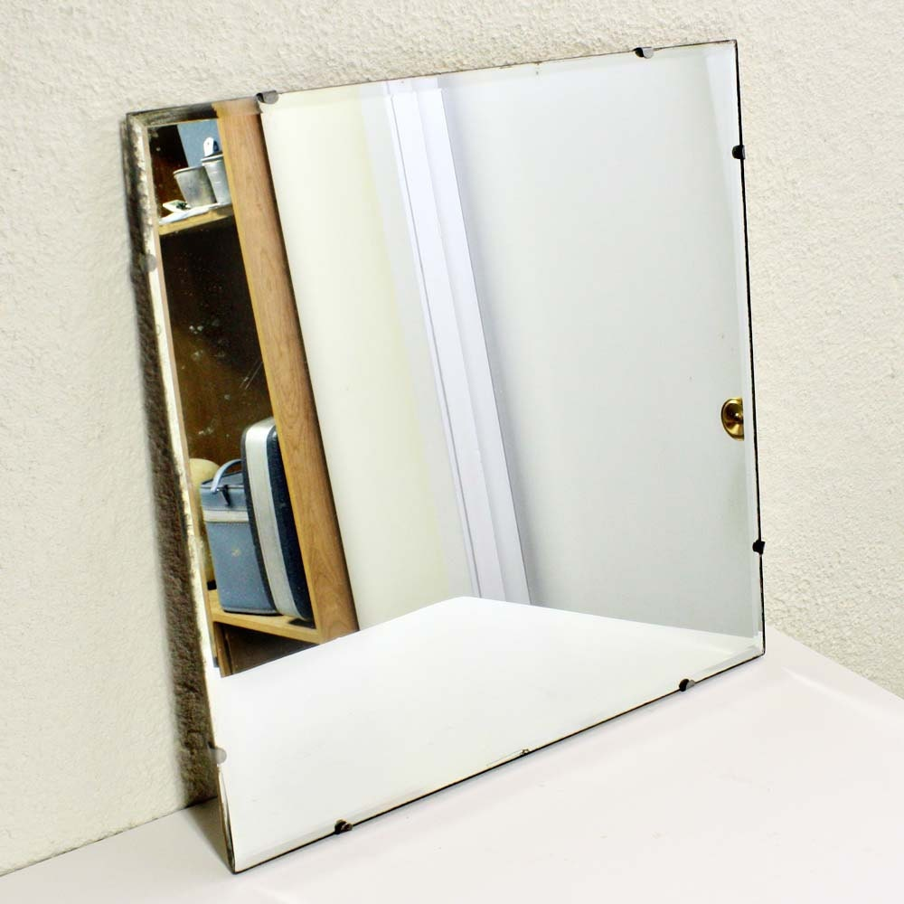 Vintage wall mirror square beveled edge for Square mirror
