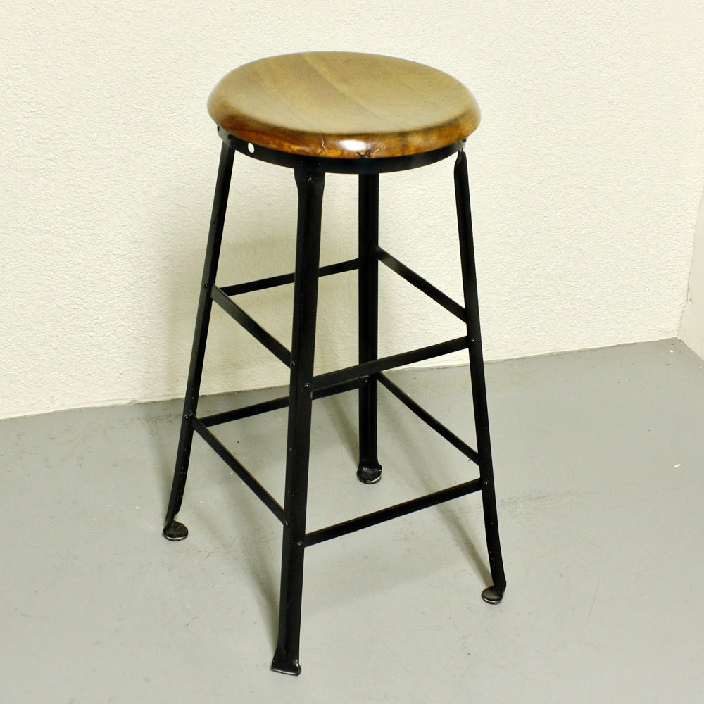 Vintage Metal Stool Wood Seat Machinist Stool Industrial