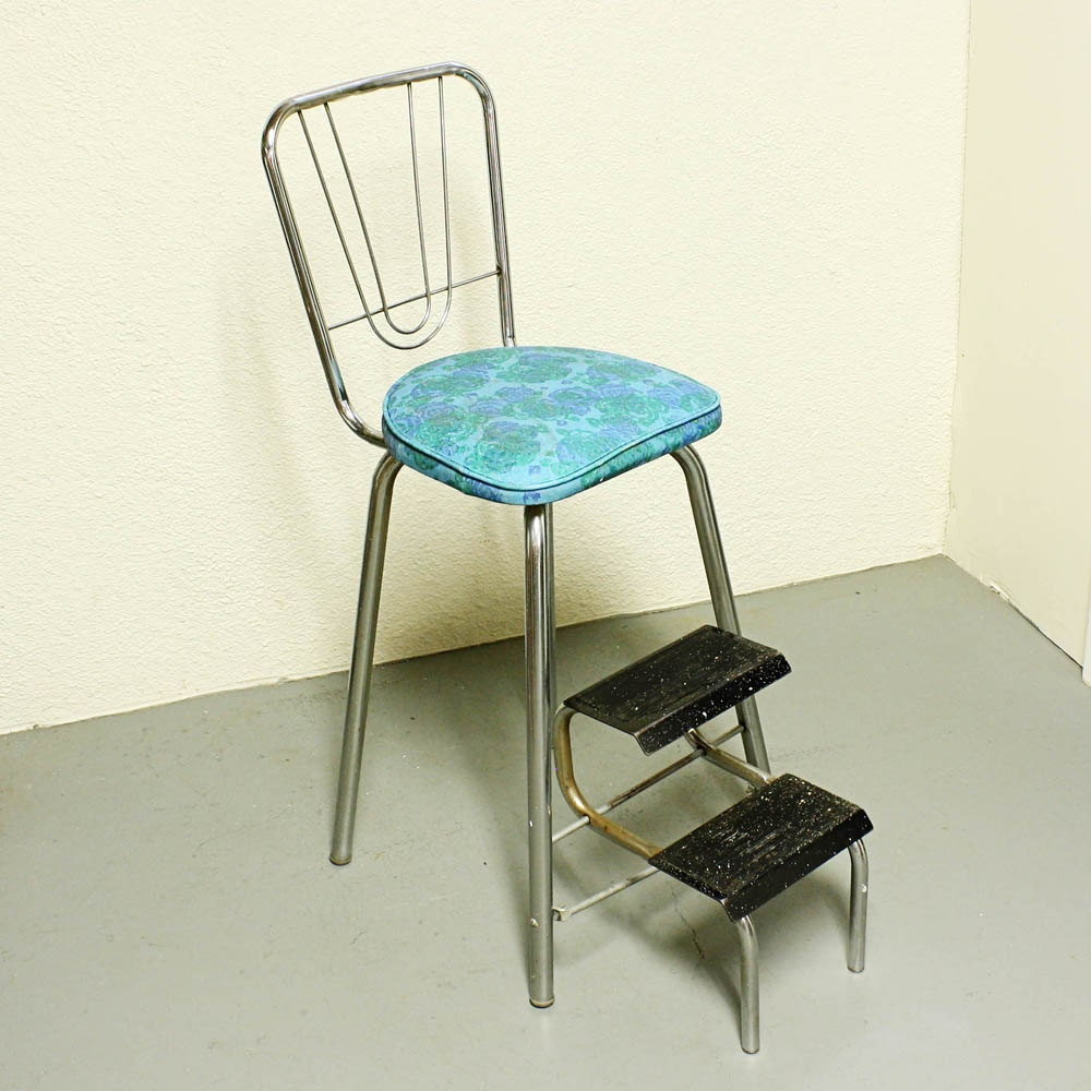 Vintage kitchen stool step stool stool chair fold out for Stool chair