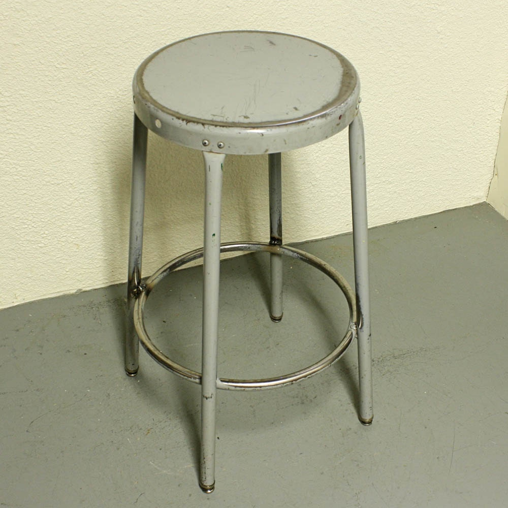 Vintage Metal Stool Shop Stool Seat Industrial By