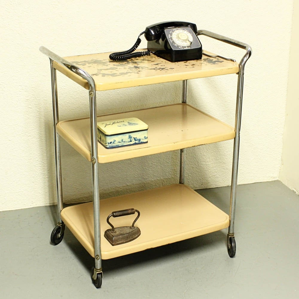 Vintage Metal Cart Serving Cart Kitchen Cart Cosco Tan