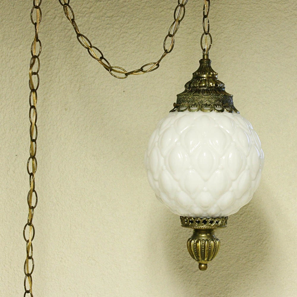 Vintage Hanging Light Hanging Lamp Milk Glass Globe