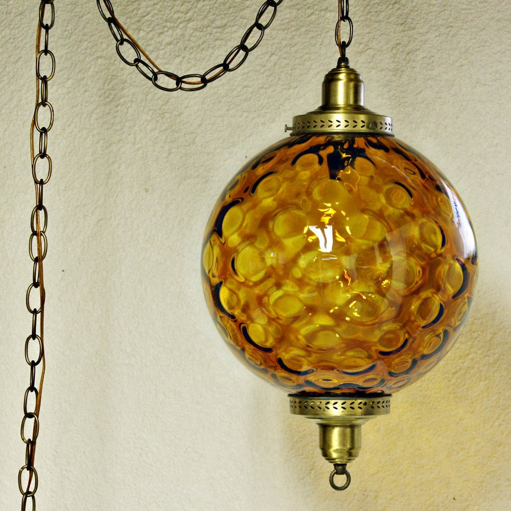 Vintage hanging light hanging lamp swag lamp amber globe