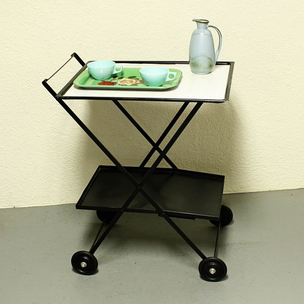 Vintage Metal Cart: Vintage Tea Cart Serving Cart Metal Cart Kitchen Cart