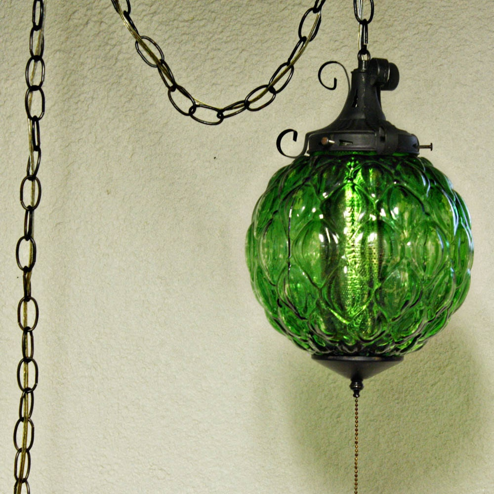 Vintage Hanging Light Hanging Lamp Green Glass By