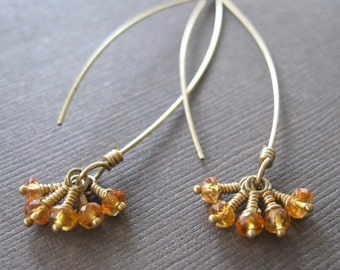 Golden Sapphire Cluster 14k GF Long Hoop Drop Earrings Birthstone Delicate Earrings- Sample Sale