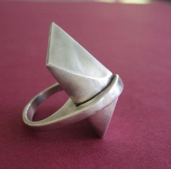 Vintage Modern Sculptural Sterling Rectangle Cocktail Ring
