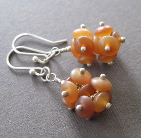 Organic Horn Bead Cluster Sterling Dangle Drop Earrings - Sample Sale