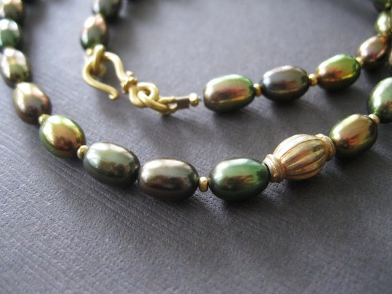 Green Bronze Gold Freshwater Oval Pearl Necklace Vermeil Gold - Sample Sale