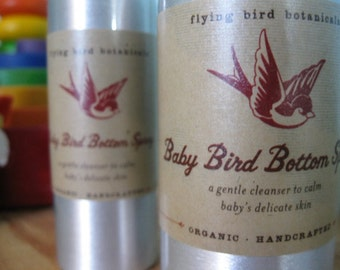 0231 4oz baby bird bottom spray....natural, organic skin care for baby