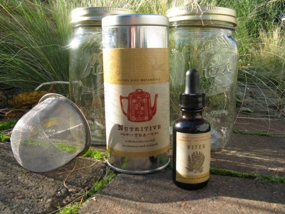 woman's wellness collection including vitex tincture and nutritive tea