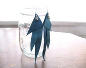 Blue Leather And Pyrite Earrings