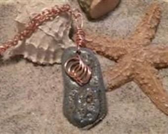 Copper Swirl Stone Pendant