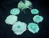 409 Ctw 8 Inches - Green Solar Quartz Stalactite Slice Briolettes Huge 32 - 48mm Approx