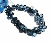 AAA London blue topaz faceted heart briolettes half strand (80 cts 29 pcs) 7-8mm