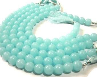 1/2 Strand 12mm AAA Aqua Blue Chalcedony Smooth Round Beads Round Polished Beads 12 Pcs