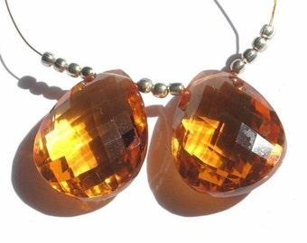 Matched Pair -AAA Madeira Quartz Faceted Pear Briolettes Size 20x15mm Approx, Citrine Quartz Pear Cut Briolette, Gemstone Briolette