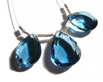 AAA London Blue Quartz Faceted Pear Briolette 3Pc set 18x13 - 20x15mm Beautiful Mirror Cutting