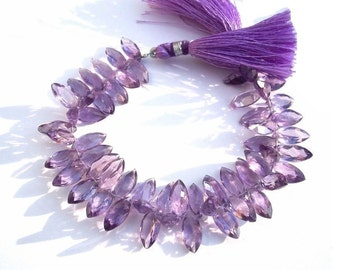 1/2 Strand - Genuine Brazilian Amethyst Faceted Marquise shaped cut stone briolettes Size 12x6mm approx