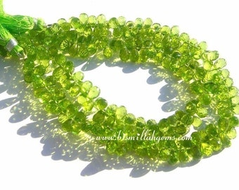 Set Of 20Pcs Finest Quality Peridot Micro Faceted Drop Briolettes Size 6x4 - 7x5mm approx