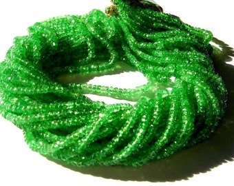 Bright Emerald Green Natural Tsavorite Garnet Micro Faceted Rondelle Beads 8 inches 2 - 4mm Sooo Gorgeous