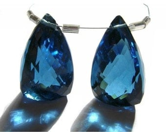 Stunning Matched Pair AAA London Blue Quartz Faceted Fancy Briolette Huge 21x12mm