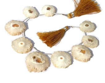 8 Inches -  White Solar Quartz Stalactite Coin Briolettes with Brown Tint Size 22 - 33mm Approx