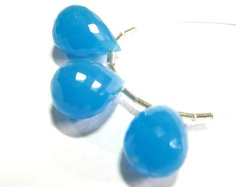 Neon Blue Chalcedony faceted Tear Drop Briolette 3Pc Set 19x13mm approx